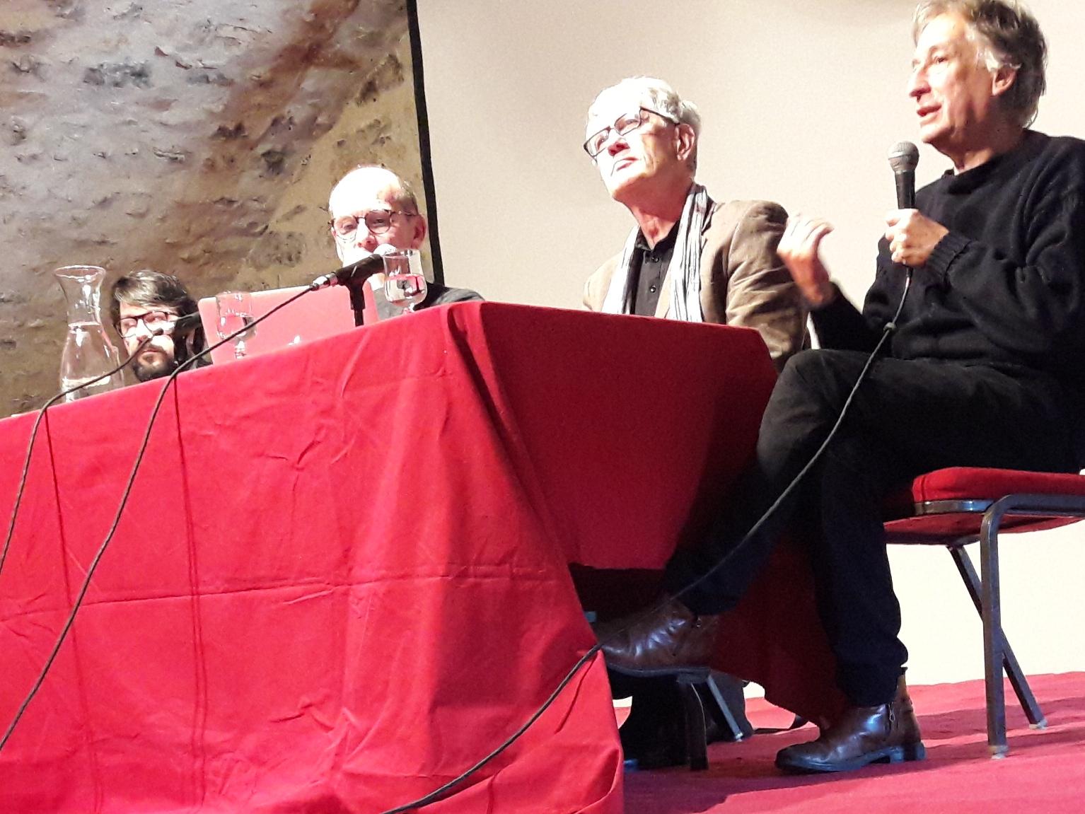 3/11/2018, Banquet du livre d'automne, Lagrasse, avec J. Faerber, S. Bonnery et J. Rouaud