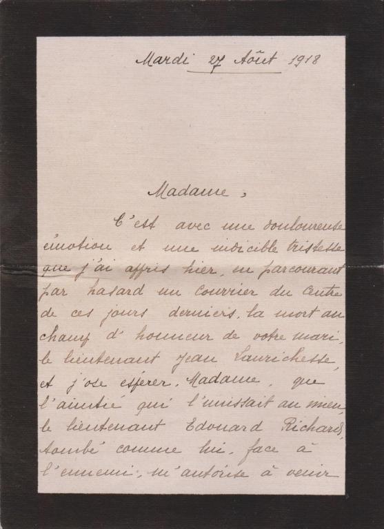 Andrée Richard à Gabrielle, Chambon-sur-Voueize, 27 août 1918