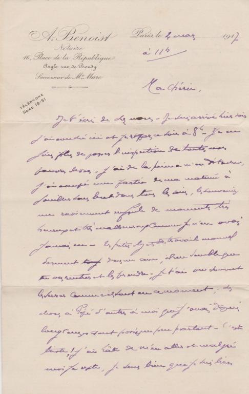 Jean à Gabrielle, Paris, 4 mars 1917