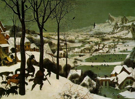 """Bruegel, """"Les chasseurs dans la neige"""" (1565)"""