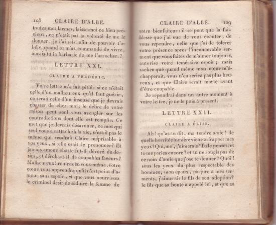 """Sophie Cottin, """"Claire d'Albe"""" (1820)"""
