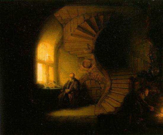 """Rembrandt, """"Philosophe en méditation"""" (1632)"""